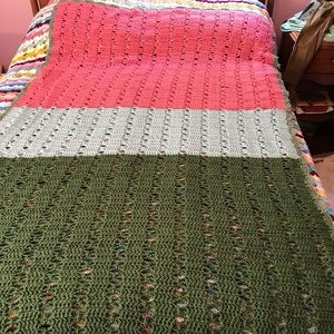 Other - Color Block Handmade Afghan Crochet Blanket 84x47